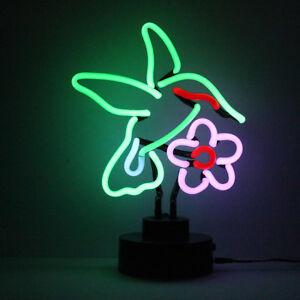 Hummingbird Light Sculpture Handmade Real Neon Glass Window Shelf Or Table Light