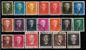 498) NETHERLANDS - NEDERLAND 518-537 JULIANA EN FACE 1949 USED SET x20 - PERFECT
