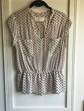 Anthropologie Isani Ladies Blue and Red 3D Polka Dot Blouse Size 8