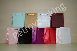 EXTRA SMALL PAPER GIFT BAGS  PINK,WHITE,BLACK,GOLD,SILVER,BLUE +  PACK OF  50