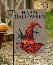 Toland Happy Halloween Hat 12.5 x 18 Spooky Witch Spider Web Garden Flag