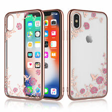 For iPhone XS /XS Max /XR Crystal Bling Flower TPU Clear Case Soft Slim Cover