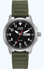 Citizen Eco Drive Men's Stainless Steel Green Canvas Strap Watch BM8180-03E