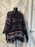 Daniel Rainn Blue Pink Cream Sheer Floral Print Crochet Lace Trim Boho Blouse XL