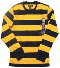 Polo Ralph Lauren Men's Yellow/Navy Stripe Waffle Knit Long Sleeve Thermal Shirt