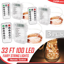 3 sets Remote Control Warm White 10M/33FT 100LED Copper Wire String Fairy Light