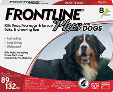 FRONTLINE Plus Flea and Tick Treatment for Large Dogs (89-132 lbs),8 Treatments