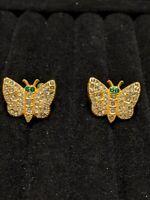 Vintage Estate Gold Tone Green Rhinestone Butterfly Screw Back Earrings