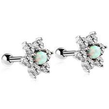 Flower White Opal Stud Earring Ear Barbell Body Jewelry Crystal Surgical Steel
