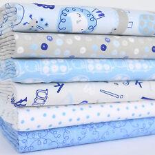 Baby Animals Gris/Azul 6 Pieza Cuarto Gordo paquete 100% Tela De Algodón