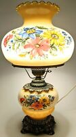 Vintage 3 Way Hand Painted Glass Gone with the Wind Lamp - Hurricane Floral 1971