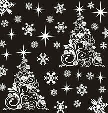 Christmas Tree X 2 & 48 Snowflake Stars Window Stickers Decorations Decal Cling