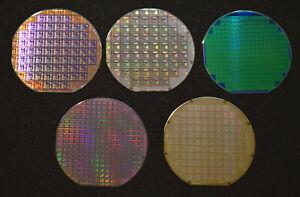 "Historic 1980s-1990s silicon wafers - Quantity of five, 6"" silicon wafers"