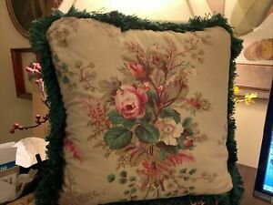 "Waverly~16"" Sq~Pillow~Floral~w/ Green Fringe~Double Sided~FREE SHIP~Excellent~"