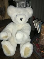 """Vermont Teddy Bear Co Authentic Ivory Blue Eyed Jointed 16"""" Handmade Plush Bear"""