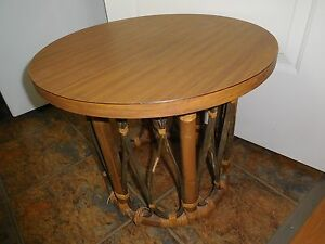 VINTAGE MID CENTURY MODERN CALIF ASIA FORMICA RATTAN END TABLE BAMBOO STURDY OLD