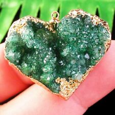 Green Titanium Crystal Agate Druzy Quartz Geode Heart Pendant Bead L63549
