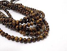 60pcs+ Natural Genuine 6mm TIGER EYE Round Gemstone Beads ( on 1 strand )