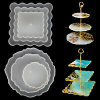 DIY 3 Tiers Fruit Dish Coaster Resin Casting Silicone Agate Epoxy Stand K9Z0