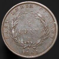 1845 | Straits Settlements 1/4 Cent | Copper | Coins | KM Coins