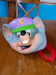 Vintage 3D Rubber Chuck E Cheese Head Backpack bag RARE COLLECTIBLE