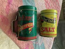 "Vintage Elton Kirby's Percival Duffin's Tin Can Salt & Pepper Shaker Decor 2.5"""