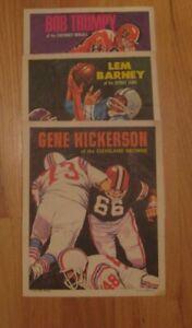 1970 Topps Football Poster lot (3) Lem Barney Gene Hickerson Bob Trumpy 12 15 18