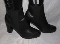 ATMOSPHERE WOMENS BLACK PULL ON SYNTHETIC ANKLE BOOTS SIZE:8/42(WB1663)