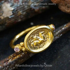 Omer Pink Topaz Coin Ring Sterling Silver Hand forged Fine Jewelry 24k Vermeil