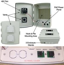 Outdoor PoE interface Enclosure Box with Cooling Fan 48 volt DC Hyperlink Panel