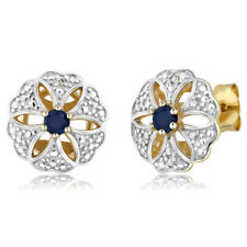 0.26 Ct 3mm Green Sapphire & Diamond 18k Yellow Gold Plated Silver Stud Earrings