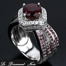 LDN_Bague Rubis Blood Red Saphir Blanc_Argent 925_T52_Liquidation totale