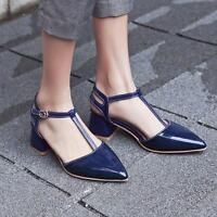 Women Block Heels Ankle Strappy Buckle Pumps Pointy Toe Patent Leather Shoes