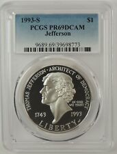 1993-S $1 JEFFERSON SILVER COMMEMORATIVE DOLLAR PCGS PR69DCAM #39698773