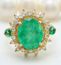 5.31 Ct Natural Zambia Esmeralda Diamantes en 14K Oro Amarillo Macizo de Mujer
