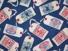 Cotton Fabric--Vintage Clothing Tags on Denim Blue Print from Windham--One Yard