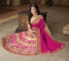 Último Bollywood indio paquistaní de diseñador de Boda Sari de color rosa bordado Saree