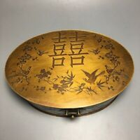 Collectible Old copper carved flower birds happy Jewelry Boxes Jewel Storage Box