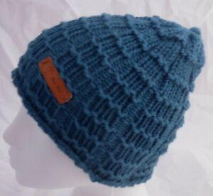 Brimless Waffle Stitch Blue  Beanie Hat -hand made-Adult -One size-Brand New