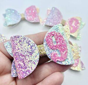 """Age 9 - Pastel Rainbow - Chunky Glitter 3"""" Birthday Hair Bow Clip"""