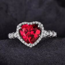 SOLID SILVER 925 RUBY LOVE HEART DIAMOND BRILLIANT CUT 2.5CT ENGAGEMENT RING