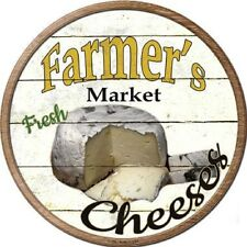 FARMERS MARKET FRESH CHEESES METAL NOVELTY ROUND CIRCULAR SIGN