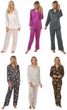 Satin Pyjamas Candy Stripe Ladies Womens Pink PJs Silk Feel Summer Nightwear