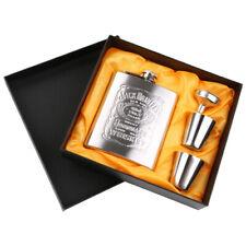 7oz Stainless Steel Flask & Funnel Set In Plain Black Gift Box Luxury