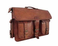 """17"""" Vintage Leather Office Briefcase Messenger Bag Laptop Satchel Shoulder Bag"""