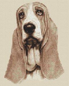 "Basset Hound Cross Stitch Design (Sepia,8""x10"",20x25cm,kit or chart)"