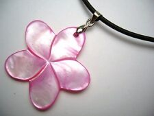 """Mother of Pearl Flower Pendant w/ 2mm Rubber Cord Necklace 17"""" Long # 20521-4"""