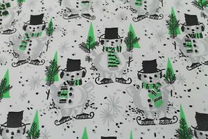 Vintage Mid Century Mod Snowmen Christmas Gift wrap Wrapping Paper