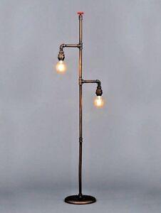 Vintage Industrial Steampunk Retro Style Floor Lamp Light - Iron Metal Pipe