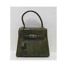 Eileen Kramer Genuine Olive Green Ostrich Skin Handbag Purse